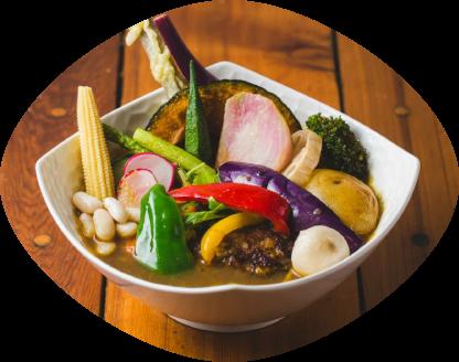 ハンバーグと16品目野菜のスープカレー