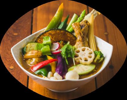骨付きチキンレッグと16品目野菜のスープカレー